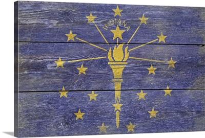 Indiana State Flag on Wood