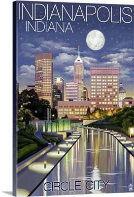 Indianapolis, Indiana - Indianapolis at Night Circle City: Retro Travel Poster