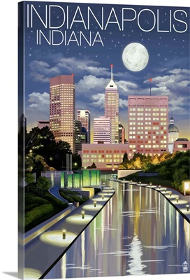 Indianapolis, Indiana - Indianapolis at Night: Retro Travel Poster