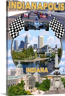 Indianapolis, Indiana - Montage Scenes: Retro Travel Poster