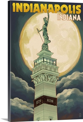 Indianapolis, Indiana - Soldiers' and Sailors' Monument and Moon- : Retro Travel Poster