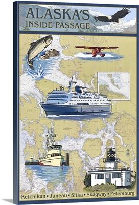 Inside Passage, Alaska - Nautical Chart: Retro Travel Poster