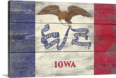 Iowa State Flag on Wood