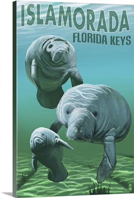 Islamorada, Florida Keys - Manatees: Retro Travel Poster