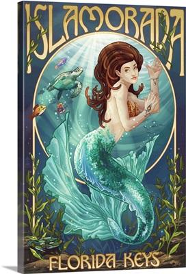 Islamorada, Florida Keys - Mermaid: Retro Travel Poster