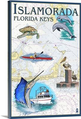 Islamorada, Florida Keys - Nautical Chart: Retro Travel Poster