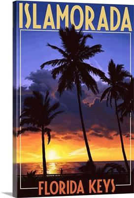 Islamorada, Florida Keys - Palms and Sunset: Retro Travel Poster