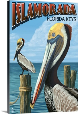Islamorada, Florida Keys - Pelicans: Retro Travel Poster