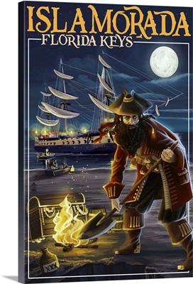 Islamorada, Florida Keys - Pirate and Treasure: Retro Travel Poster