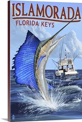 Islamorada, Florida Keys - Sailfish Scene: Retro Travel Poster