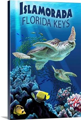 Islamorada, Florida Keys - Sea Turtles: Retro Travel Poster