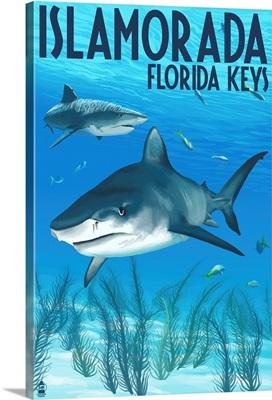 Islamorada, Florida Keys - Tiger Shark: Retro Travel Poster