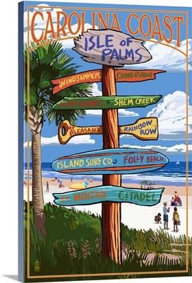 Isle of Palms, South Carolina - Destinations Sign: Retro Travel Poster