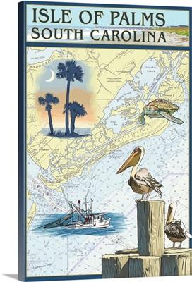 Isle of Palms, South Carolina - Nautical Chart: Retro Travel Poster
