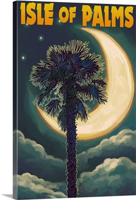 Isle of Palms, South Carolina - Palmetto Moon and Palm: Retro Travel Poster