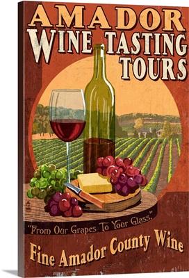 Jackson, California - Wine Vintage Sign: Retro Travel Poster