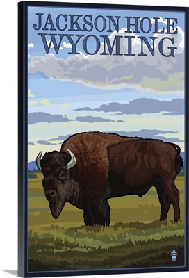 Jackson Hole, WY - Buffalo in Field: Retro Travel Poster