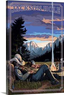 Jackson Hole, Wyoming - Cowboy Camping Night Scene: Retro Travel Poster