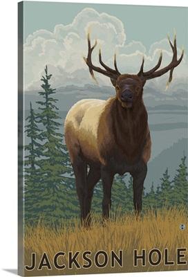 Jackson Hole, Wyoming - Elk: Retro Travel Poster