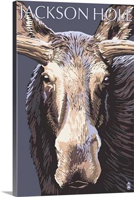 Jackson Hole, Wyoming - Moose Up Close: Retro Travel Poster