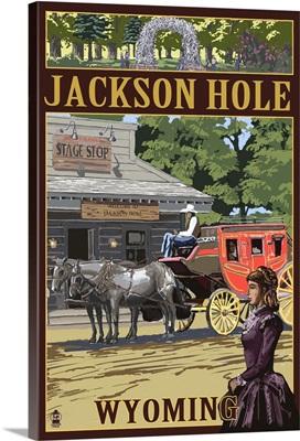 Jackson Hole, Wyoming Stagecoach: Retro Travel Poster