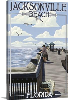 Jacksonville Beach, Florida - Fishing Pier Scene: Retro Travel Poster