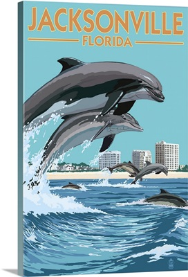 Jacksonville Beach, Florida - Jumping Dolphins: Retro Travel Poster
