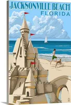 Jacksonville Beach, Florida - Sandcastle Scene: Retro Travel Poster