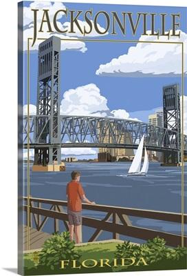 Jacksonville, Florida - Bridge Scene: Retro Travel Poster