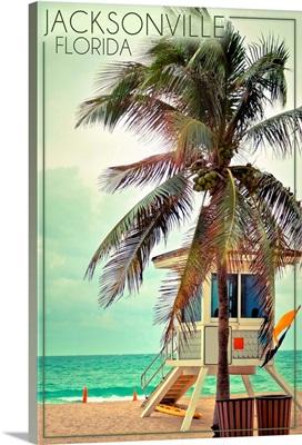Jacksonville, Florida, Lifeguard Shack and Palm