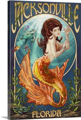 Jacksonville, Florida - Mermaid Scene: Retro Travel Poster