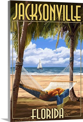 Jacksonville, Florida - Palms and Hammock: Retro Travel Poster
