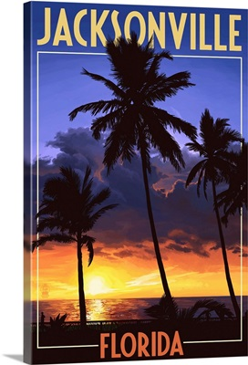 Jacksonville, Florida - Palms and Sunset: Retro Travel Poster