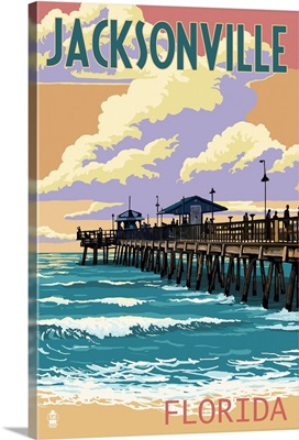 Jacksonville, Florida - Pier and Sunset: Retro Travel Poster