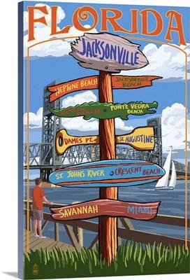 Jacksonville, Florida - Sign Destinations: Retro Travel Poster