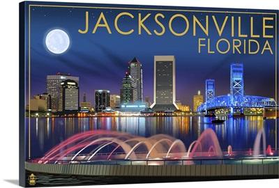 Jacksonville, Florida - Skyline at Night: Retro Travel Poster