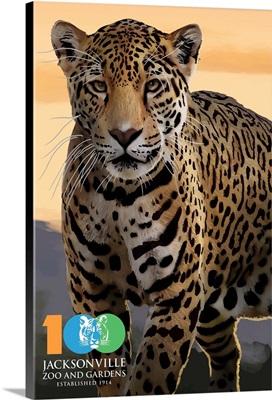 Jacksonville Zoo and Gardens - 100th - Jaguar: Retro Travel Poster