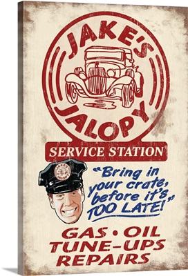 Jakes Jalopy Service Station, Vintage Sign