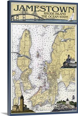Jamestown, Rhode Island Nautical Chart: Retro Travel Poster