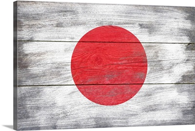 Japan Country Flag on Wood