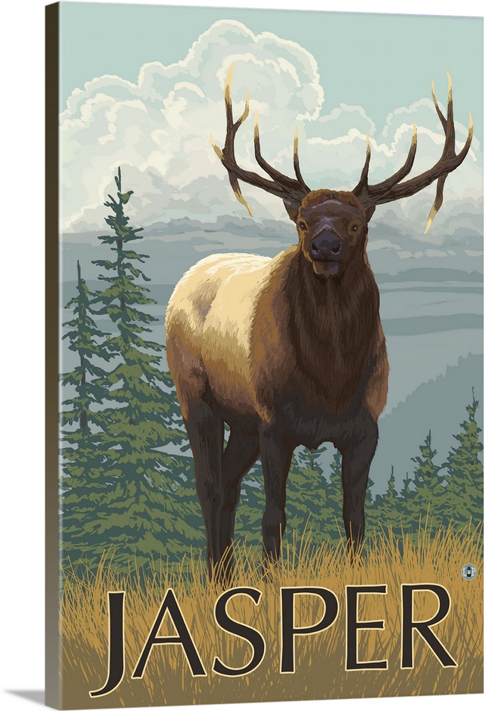 Jasper National Park Canada Elk Scene Retro Travel Poster Wall Art Canvas Prints Framed Prints Wall Peels Great Big Canvas