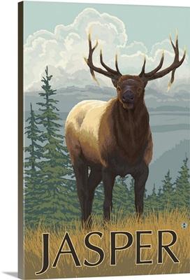 Jasper National Park, Canada - Elk Scene: Retro Travel Poster