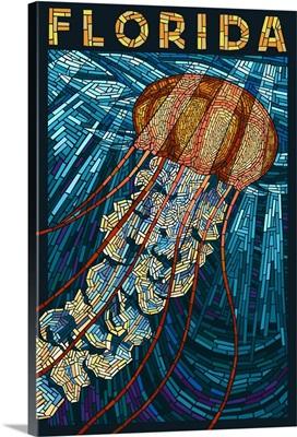 Jellyfish Paper Mosaic - Florida: Retro Travel Poster