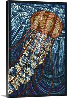 Jellyfish - Paper Mosaic: Retro Travel Poster
