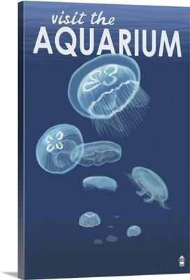 Jellyfish - Visit the Aquarium: Retro Travel Poster