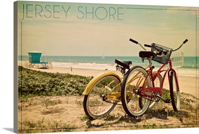 Jersey Shore, Bicycles and Beach Scene