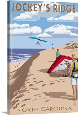 Jockey's Ridge Hang Gliders - Outer Banks, North Carolina: Retro Travel Poster