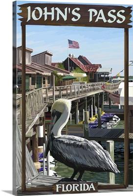 John's Pass, Florida, Pelican and Dock