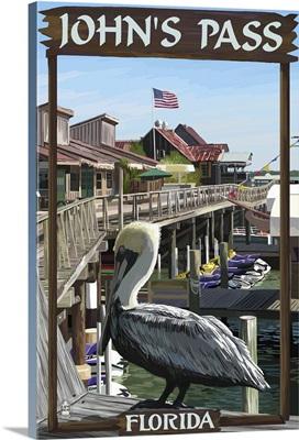 John's Pass, Florida - Pelican and Dock: Retro Travel Poster