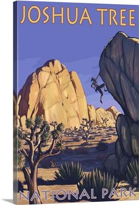Joshua Tree National Park, CA - Boulder Climber: Retro Travel Poster